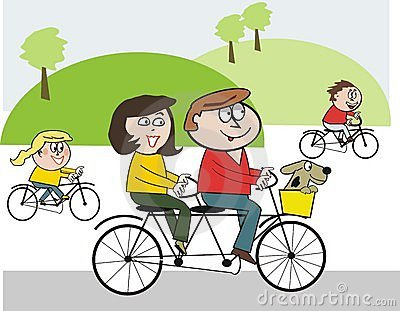Stock Photo: Happy family cycling cartoon