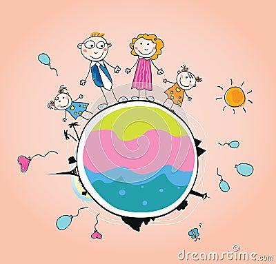 Happy family on Earth – VECTOR