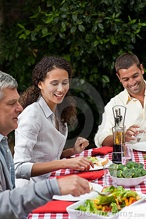 Free Happy Family Eating In The Garden Royalty Free Stock Photo - 18104325