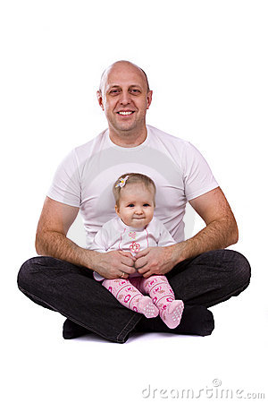 Happy family -  father and little daughter.