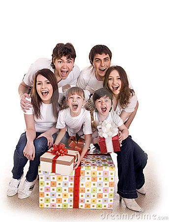 Happy family with gift box.