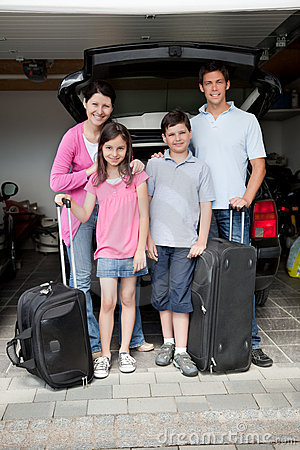 Happy family going on holiday