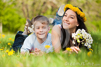 Happy family in a green park. summer