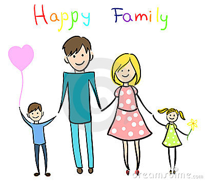 Happy family holding hands and smiling