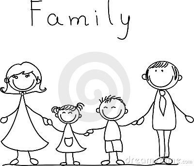 Happy family holding hands, vector
