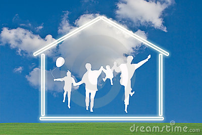 Happy family with house