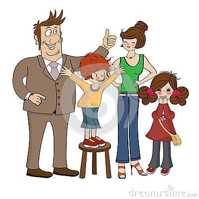 Happy family isolated on white background
