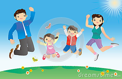 Happy family juming against blue sky