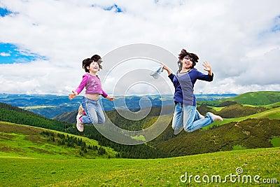 Happy family jump