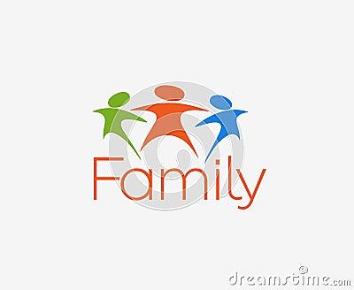 Happy Family Logo Vector Illustration
