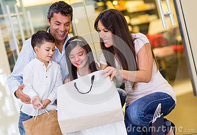 Happy family at the mall