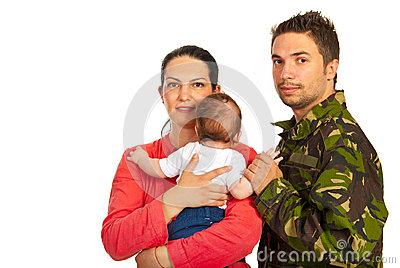 Happy family with military father