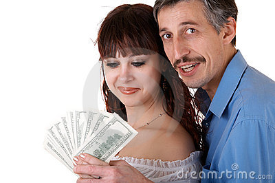 Happy family with money