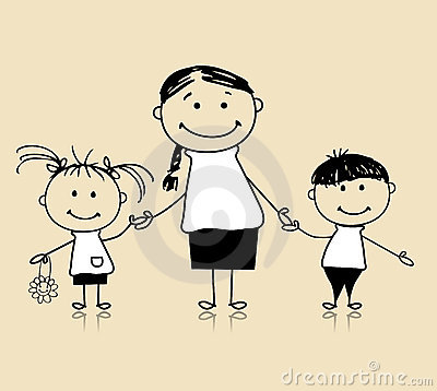 Happy family, mother and children, drawing sketch