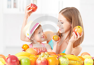 Happy family mother and daughter little girl, eat healthy vegetarian food, fruit Stock Photo
