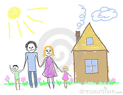 Happy family near the house