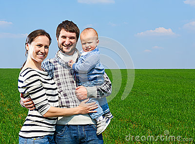 Happy family at outdoors