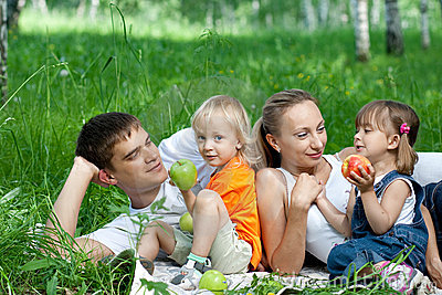 Happy family in park