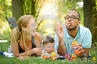 Happy Family in the park Stock Photo