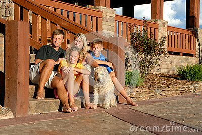 Happy family and pet