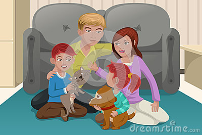 Happy family with pets
