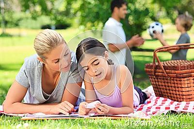 Happy family picnicking
