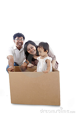 Happy family play with a box