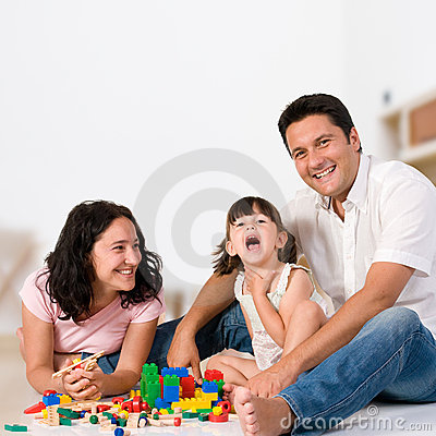 Free Happy Family Playing With Blocks Royalty Free Stock Photo - 12424715