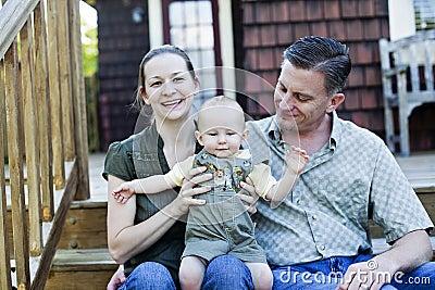 Happy family on porch