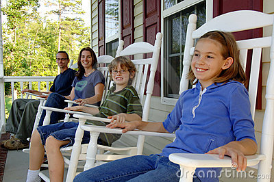 Happy family on porch
