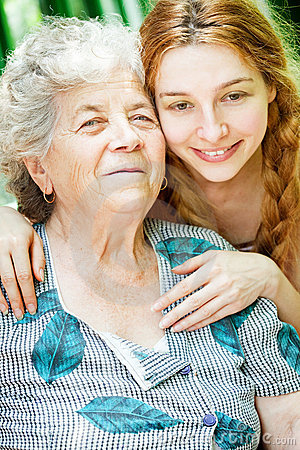 Happy family portrait - daughter and grandmother