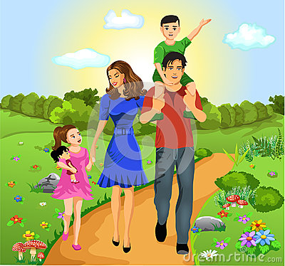 Happy family on the road of life