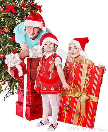 Happy family in santa hat holding gift box.