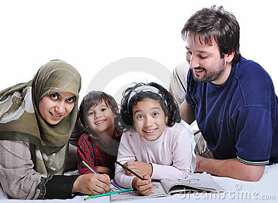 Happy family with several members in education