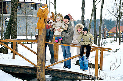Happy family of six people spend time