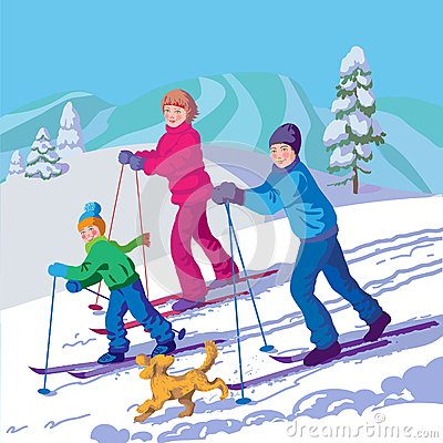 Happy family is skiing in the winter day