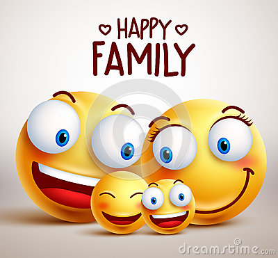 Happy family smiley face vector characters with father, mother and children Vector Illustration