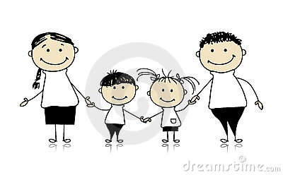 Happy family smiling together, drawing sketch
