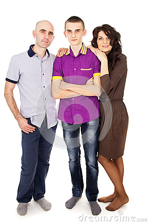 Happy family with son teens