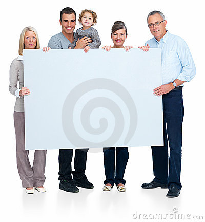 Happy family standing and holding a copyspace