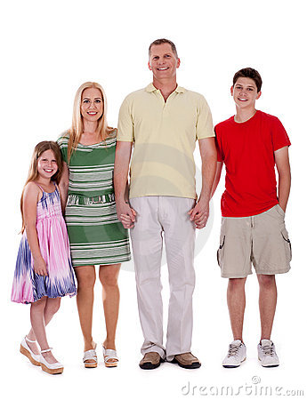 Happy family standing by holding their hands