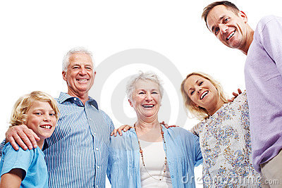 Happy family standing together over white
