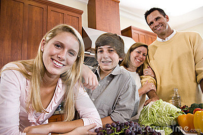 happy family teenagers smiling kitchen stock photos, images, Kitchen design