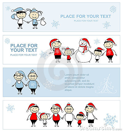 Happy family together, christmas holiday banner