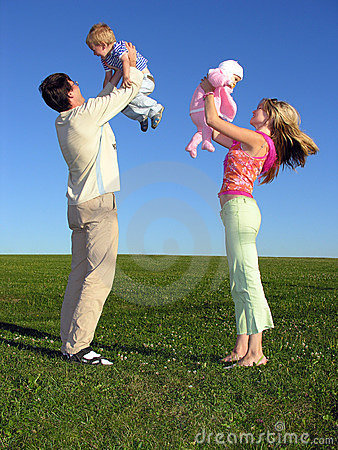 Happy Family With Two Children On Blue Sky 3 Royalty Free Stock Photo - Image: 266695