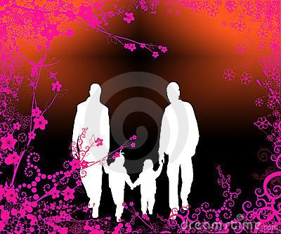 Happy family walking in garden