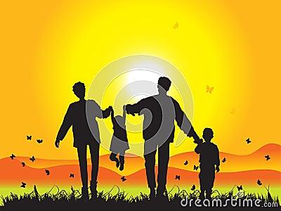 Happy family walks on nature
