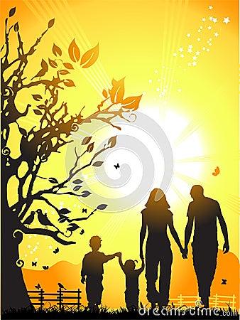 Happy family walks on nature,