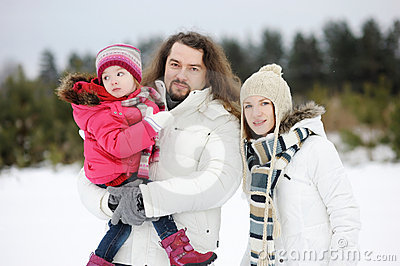 Happy family on a winter day
