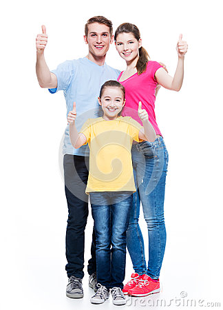 Free Happy Family With Child Shows The Thumbs Up Sign. Stock Image - 40397011